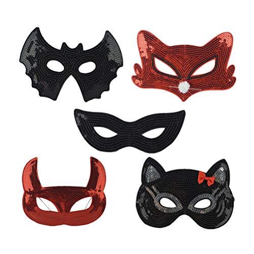 Amosfun 5 stücke Pailletten Maske Augenmaske Kostüm Maske Halloween Kostüme (Fuchs Maske + Rote Teufel Maske + Schwarze Augen Maske + Fledermaus Maske + Katze - Fledermaus Augen Kostüm