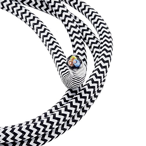Stoffkabel Schwarz Weiß gezackt Länge wählbar 10 Meter 3-adriges Textilkabel Mit Stoff umsponnen Lampenkabel Leuchtenkabel Kabel (Weiß Und 10 Schwarz)
