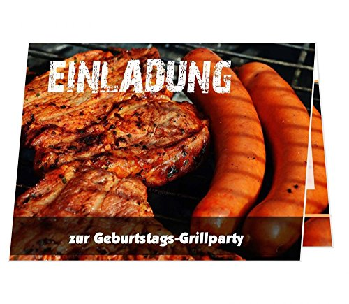 10 schöne Klappkarten Einladung Geburtstags Grillparty grillen Barbeque Grill, Größe 14,8 x 10,5 cm zugeklappt, aufgeklappt 14,8 x 21 cm