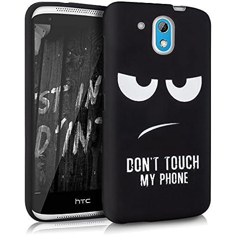 kwmobile FUNDA de TPU silicona para HTC Desire 526G Diseño Don't touch my phone blanco negro - Estilosa funda de diseño de TPU blando de alta