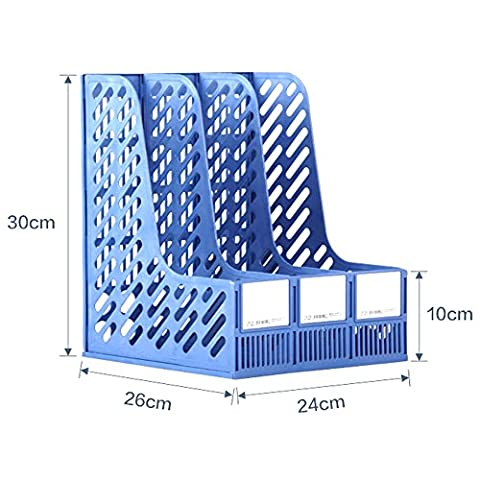 Beauty360 Desktop File Holder for Document and Magazine Rack Lever Arch Files 300 * 260 * 240mm (Blue)