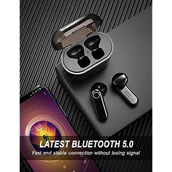 yobola Cuffie Bluetooth, Auricolari Bluetooth 5.0 56h Playtime 3D stereo HD Cuffie wireless con Microfono, Binaurale Call auto Pairing, Auricolari Senza Fili con custodia di ricarica portatile