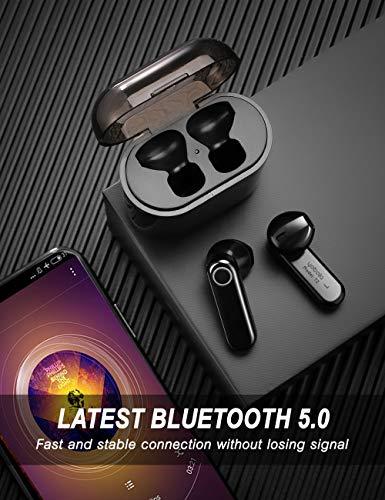 yobola Auriculares Bluetooth Inalámbrico,  Bluetooth 5.0 Auriculares 56H Reproducción 3D Stereo HD Cascos Inalámbricos,  Binaural Call Auto Pairing,  Auriculares Inalámbricos con Funda de Carga Portátil