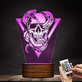 ZCLD Schädel mit klapperschlange tottem Emblem 3D nachtlicht Halloween Tod schädel LED beleuchtete Zeichen Schlange durch schädel dekorativ