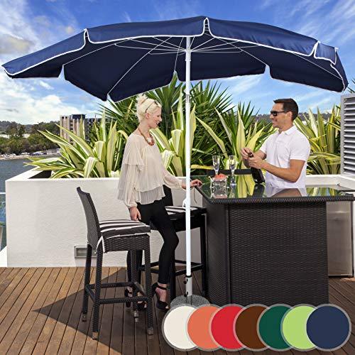 MIADOMODO Sonnenschirm 200 x 155 cm I Rechteckig, höhenverstellbar, knickbar, Farbwahl, Quadratisch, UV-Schutz I Gartenschirm, Marktschirm, Balkonschirm, Terassenschirm (Blau)