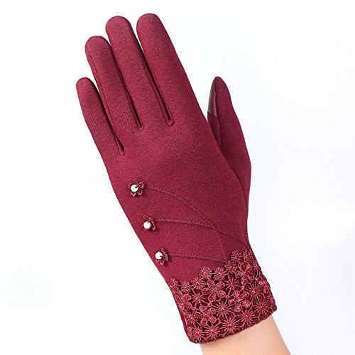 Ruirs Nice Lady Winter Poly gesponnen Velours Handschuhe, Girl 's Winter Poly gesponnen Velours Flower Design Handschuhe Herbst Winter Warm Fäustlinge, rot