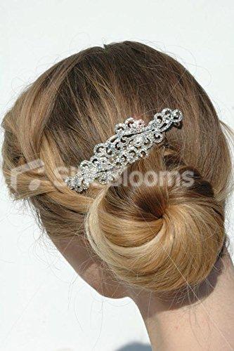Silk Blooms Ltd Peigne à Cheveux en Filigrane argenté avec Cristaux Transparents.