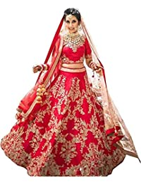 Gloxi Women's Embroidered Pink Semi Stitched Lehenga Choli (X-FreeSize)