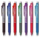 PILOT Tintenroller FRIXION BALL CLICKER Point Profi 05, 7-er Set im praktischen Geschenketui Alle Farben: blau, schwarz, rot, grün, pink, violett, hellblau