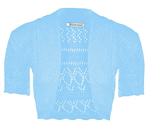 New Girls Kids Short Sleeve Crochet Knitted Bolero Shrug Ladie Cardigan Crop Top bleu ciel