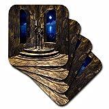 3dRose CST 11660_ 3eine Mittelalterliche Burg Innen mit Stein Wände, gewölbte Fenster Keramik Fliesen Untersetzer, 4Stück