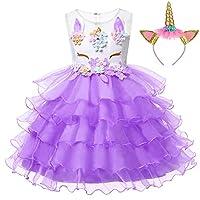 LZH Girls Unicorn Flower Dress Costume Cosplay Princess Birthday Party Dresses Up