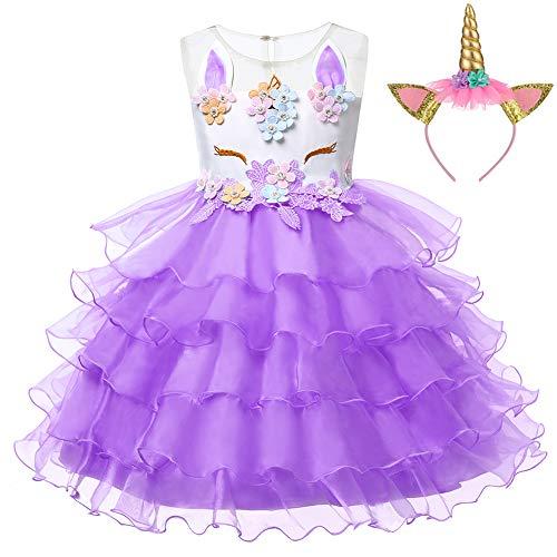 LZH Unicornio Vestido de Flor Partido Vestido De Princesa Cumpleaños Cosplay para Bebé-Niñas 2-3 años(100) D458-púrpura(con Diadema)