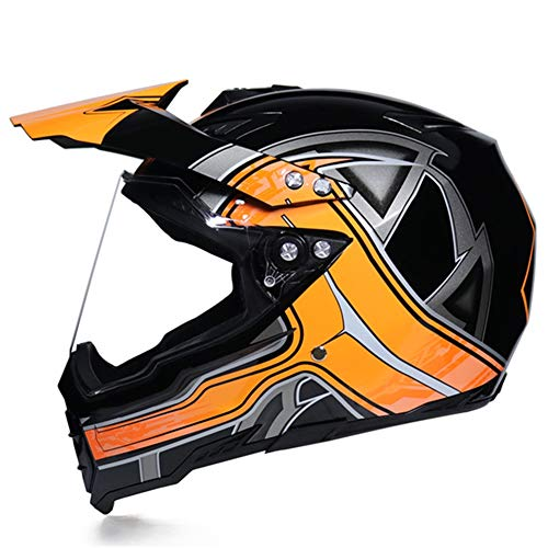 MRDEAR Casco Motocross con Visiera - Fodera Rimovibile/Ventilazione Regolabile - Casco MTB Integrale Adulto Casco da Cross Moto Downhill Race ATV Scooter, Nero e Arancio,S