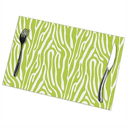 Strawberryran Mädchen Rock Green Zebra Streifen Tischsets für Esstisch waschbar Tischset 12 x 18 Zoll Set von 6 -