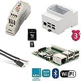 Kit de iniciación Raspberry 3B Rail DIN (alimentación, caja, cable...)