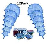 NIFOGO Silikondeckel, Silikon Stretch Deckel, Frischhaltedeckel, hält Lebensmittel frisch, dauerhaft & wiederverwendbar, 12 Stück, Geeignet für alle Schüsseln unterschiedlicher Größe (Blau)