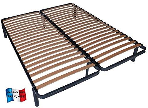MEUBLEPRO Sommier à Lattes 2x70x190 (140x190)+Pieds