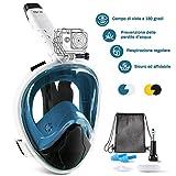 Glymnis Maschera Snorkeling Maschera Subacquea Immersione Panoramica a 180°, Anti-Appannamento, Anti-Infiltrazioni, Tubo Respiratorio Pieghevole(Blu L/XL)