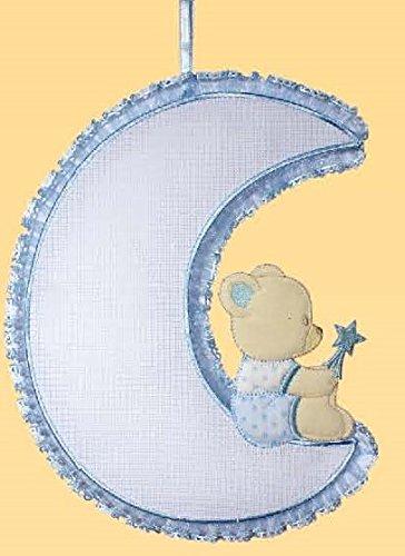 Fiocco nascita luna-orso con tela aida 55 fori (azzurro)