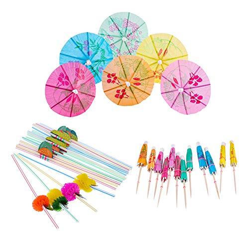 Stück Cocktail-set (TOOGOO Cocktail Dekoration Party Set, 50 Stücke Mehrfachfarben Regenschirme Strohhalme und 50 Stück Mischfarben 3D Frucht Strohhalme, Insgesamt 100)