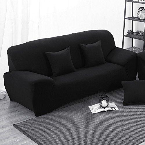 Sofabezug Bielastische Stretchhusse Schwarz 3 Sitzer 190-230cm