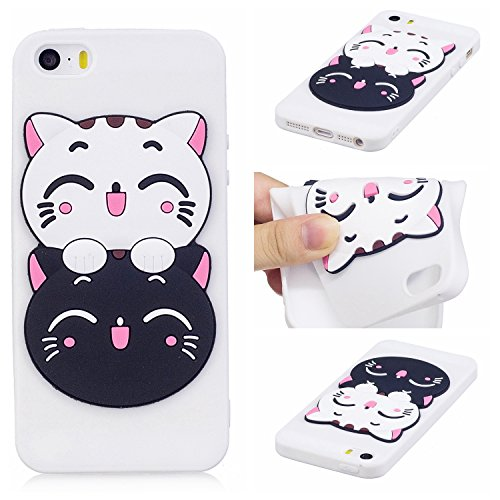 EUWLY Silicone Custodia per iPhone 5S/iPhone SE, 3D Creativo Cute Cartoon Frutta Solid Modello TPU Cover Case per iPhone 5S/iPhone SE Ultra Sottile Morbido Silicone TPU Cover Copertura Diverso Colorat Gatto