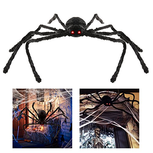 BESTOMZ Halloween Spinne 125cm Mit LED Roten Augen Halloween Deko (Halloween Spinne Dekoration)