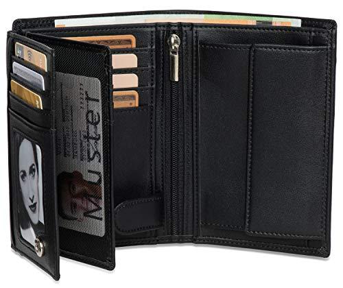 Noah Noir® Portmonaise Hochformat (15 Kartenfächer) TÜV geprüfter RFID Schutz - mit großem Münzfach und Edler Geschenkbox (Gorilla) - Leder Schwarz Geldbeutel