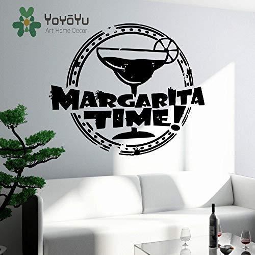 yaoxingfu Vinyl Aufkleber Wandaufkleber Margarita Time Bar Alkohol Trinken Glas Küche Decor Wandhauptdekoration Vinyl Kunst Wandaufkleber N rot 96x118 cm Red Margarita-set