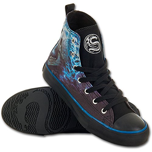 Flaming Spine, la fantasía gótica del cráneo del metal zapatillas de deporte de las mujeres zapatillas de deporte negro / azul - 37 - Espiral