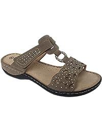 cdd2c536c2e3 Ladies Cushion Walk Faux Suede Peep Toe Diamante T-bar Mules Slip On Touch  Close