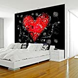 murando® WALLPAPER | 400x280 cm | 3 COLOURS TO CHOOSE | NON-WOVEN PREMIUM WALLPAPER PICTURE PHOTO | WALL MURAL | ART PRINT | WALL DECORATION | POSTER | HD PRINT | TOP QUALITY XXL | MODERN DECORATIVE | Heart black red gray purple gray violet f-A-0067-a-b