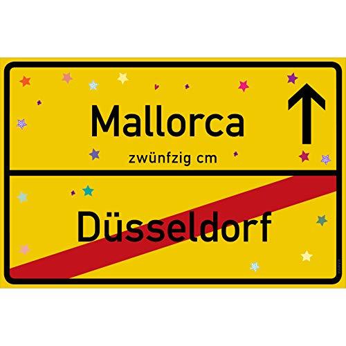 Feuerlöscher Kostüm Männer - vanva Mallorca Schild Mallorca Düsseldorf Schild gelb Mallorca-Ortsschild Ortstafel Wanddeko Party süße Geburtstag Geschenk Frauen Geschenkidee Männer 30x20 cm Schild mit Sprüchen Mallorca Sachen