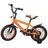 MuGuang 14 Pulgadas Bicicleta Infantil Estudio Aprendizaje Montar a Caballo Bicicleta niños niñas Bicicleta con ruedines con Campana por 3-8 años (Naranja)
