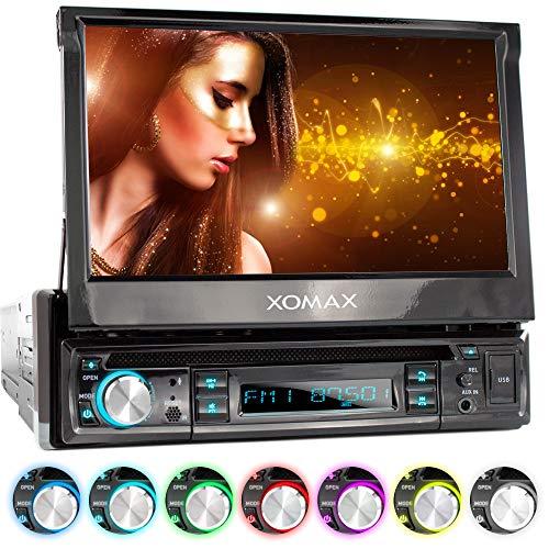 "XOMAX XM-D749 Radio de Coche con Pantalla táctil de 18 cm / 7"" I DVD, CD, USB, AUX I RDS I Bluetooth I Conexiones para cámara de Marcha atrás, Mando a Distancia del Volante y subwoofer I 1 DIN"