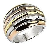 Piersando Damen Band Ring Edelstahl Poliert Vergoldet Damenring Bandring Trauring Dreifarbig Silber Gold Rosegold Breit Größe 57 (18.1)