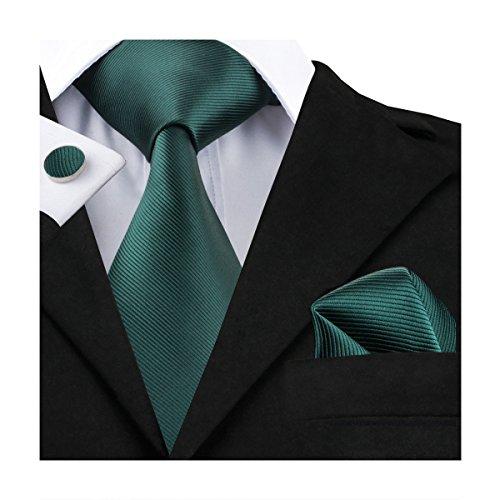 Hi-Tie, Seiden-Krawatte für Herren mit Manschettenknöpfen und Taschentuch Gr. Einheitsgröße, military green
