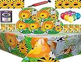 Jungle Animal Party Supplies Vajilla para 16 Niños Fiesta de cumpleaños-16 Platos 16 Tazas 16 servilletas 1 Mantel con 25 Globos Gratis Velas Bomba de Globo