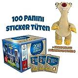 Panini WM Russia 2018 Sticker Display (100 Tüten) + gratis ICE AGE Plüsch 20cm