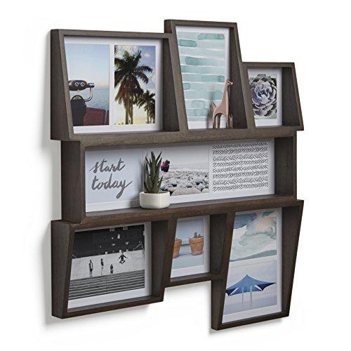 men Collage für 11 Bilder, Fotos, Kunstdrucke, Illustrationen, Graphiken und Mehr – Moderner Wand Multifotorahmen mit Integrierter Regalfläche aus Eschenholz, Walnuss Antik (Jetzt Zeigt Bilderrahmen)