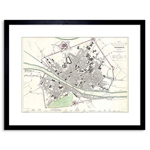 MAP ANTIQUE CLARKE FLORENCE CITY PLAN FRAMED PRINT F97X3489 - Florence Antique Print