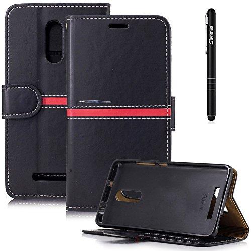 Slynmax Leder Tasche Schutzhülle für Xiaomi Redmi Note 3 Pro/Xiaomi Redmi Note 3 Hülle Schwarz Flip Wallet Case Lederhülle Slim Ledertasche Handyhülle Shell Stand Karten Slot Magnetverschluss(Rot)