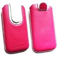 Emartbuy® Huawei P8 Lite Hot Rosa / Weiß Premium PU Leder Tasche Hülle Schutzhülle Case Cover ( Größe 4XL ) Mit Ausziehhilfe