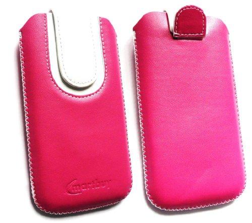 Emartbuy® Hot Rosa / Weiß Premium PU Leder Slide in Hülle Tasche Sleeve Halter ( Größe 3XL ) Mit Pull Tab Mechanism Passend für Lumigon T2 HD