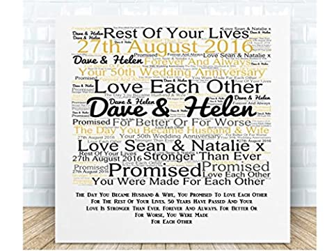 Personalised Your 50th Wedding Anniversary Word Art Poem Ceramic Plaque. Boxed. Personalised details