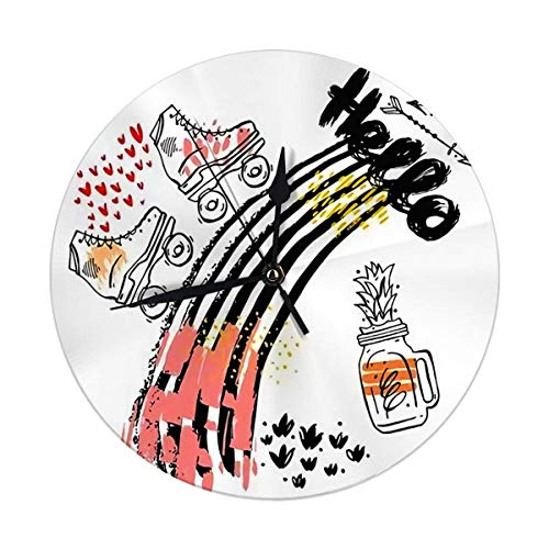 Oh Sweety Dekorative Wanduhr Big 9.8'Zoll abstrakte Vorlage Karte Hallo für Begrüßung mit Pfeilen Retro Rollschuh Digital Round Clock