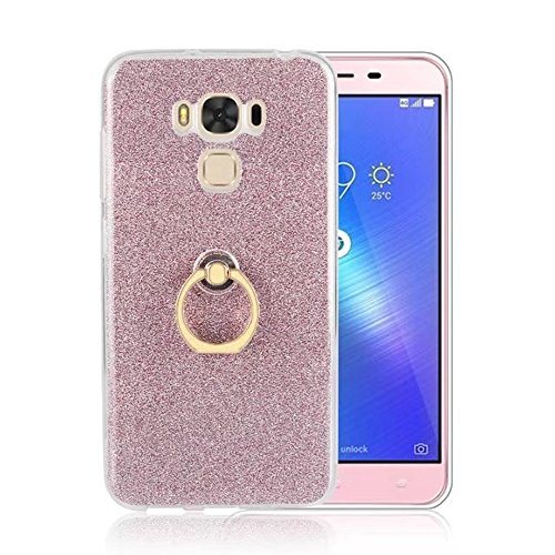 Soft Flexible TPU Back Cover Case Shockproof Schutzhülle mit Bling Glitter Sparkles und Kickstand für Asus ZC553KL ZenFone 3 MAX ( Color : Black ) Pink