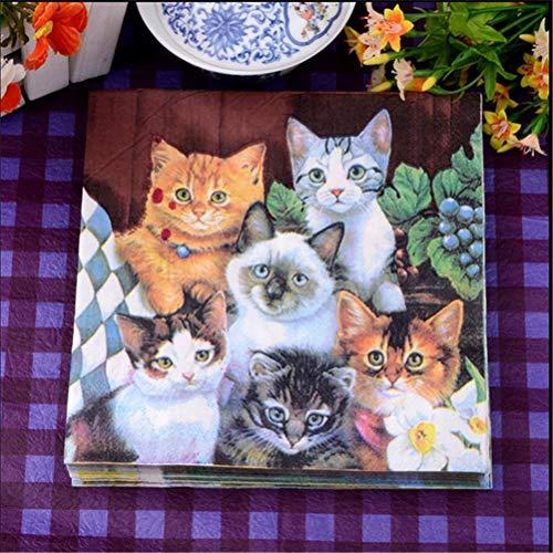 leware - 20pcs Cats Paper Napkin Festive Party Tissue Decoupage Wedding Baby Shower Decoration Diy Table - Disposable Party Tableware ()