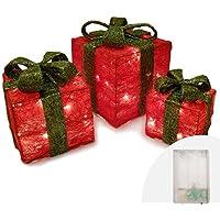 Caja de regalo con purpurina, juego de 3, paquetes rojos con lazo verde,
